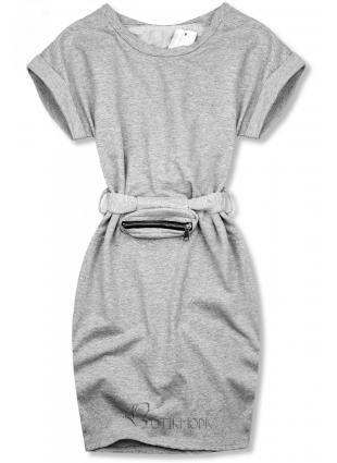 Graues Kleid Basickleid mit kleiner Tasche in der Taille