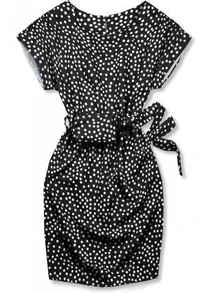 Schwarzes gepunktetes Kleid mit Tasche in der Taille