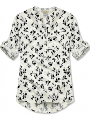 Hemd mit Blumendruck weiß/schwarz