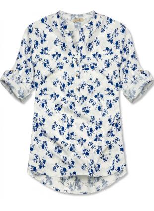 Hemd mit Blumendruck weiß/blau