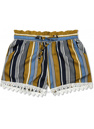 Shorts mit Spitzensaum khaki/blau